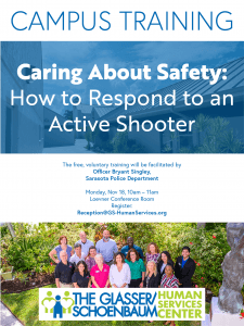 Active Shooter Training Flyer, taking place on the campus 11/19/19 at 10am in the Loevner Conference Room