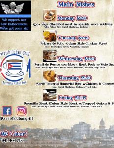 Parrish Cuban Grill Menu 1