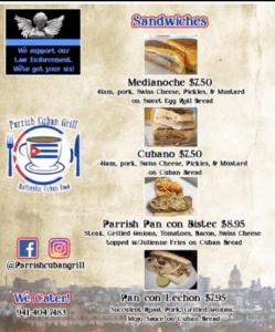 Parrish Cuban Grill Menu 2