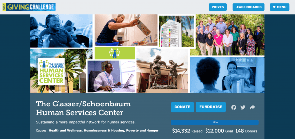 A screen shot of our Giving Challenge donation page.
