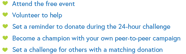 Listing of ways to get involved in the Giving Challenge